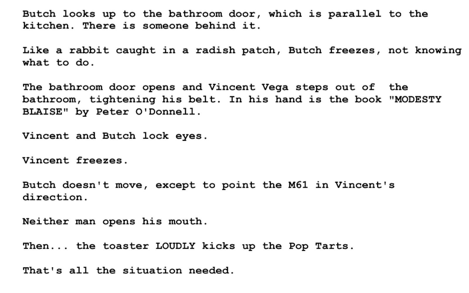 Screenplay Examples - Pulp Fiction Script - Screenplay Snippet 12 - Modesty Blaise