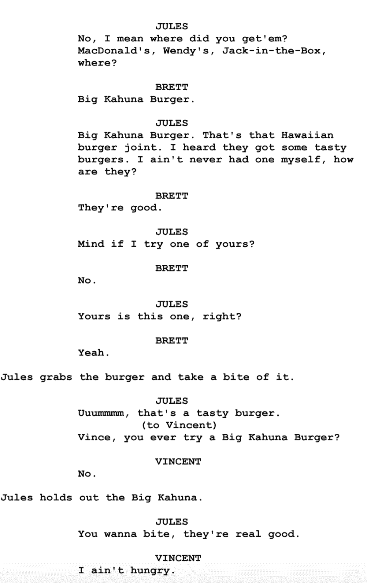 Screenplay Examples - Pulp Fiction Script - Screenplay Snippet 13 - Big Kahuna Burger