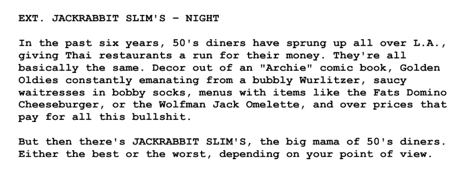 Screenplay Examples - Pulp Fiction Script - Screenplay Snippet 14 - Jackrabbit Slims