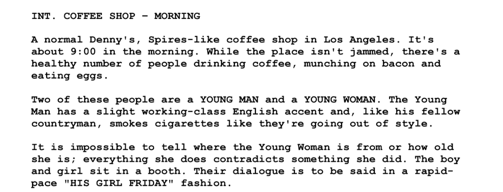 Screenplay Examples - Pulp Fiction Script - Screenplay Snippet 15 - Coffee Shop