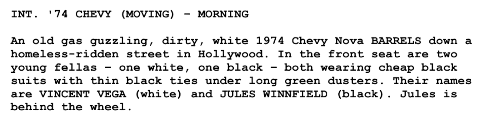 Screenplay Examples - Pulp Fiction Script - Screenplay Snippet 16 - Chevy Nova