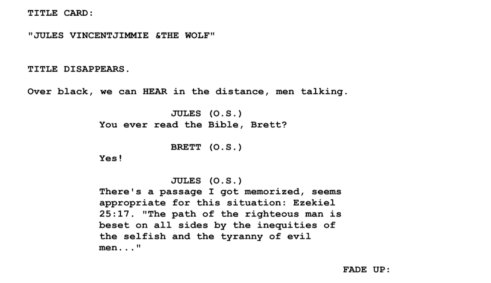 Screenplay Examples - Pulp Fiction Script - Screenplay Snippet 5 - Jules