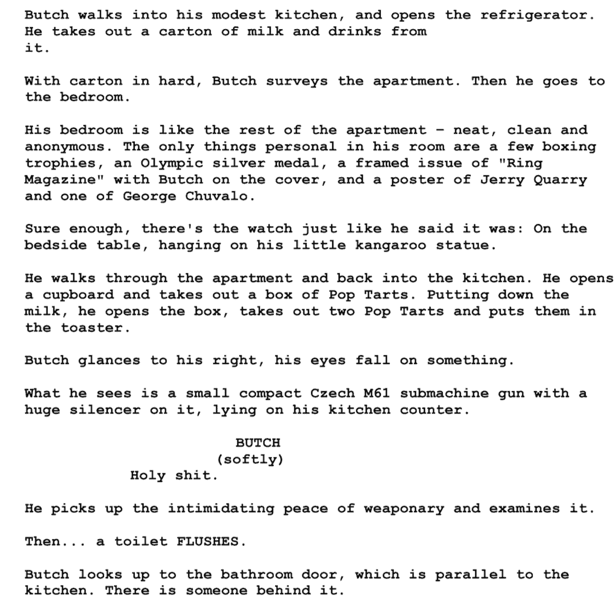 Screenplay Examples - Pulp Fiction Script - Screenplay Snippet 6 - Butch