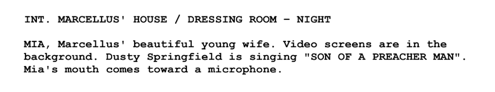 Screenplay Examples - Pulp Fiction Script - Screenplay Snippet 8 - Marcllus house