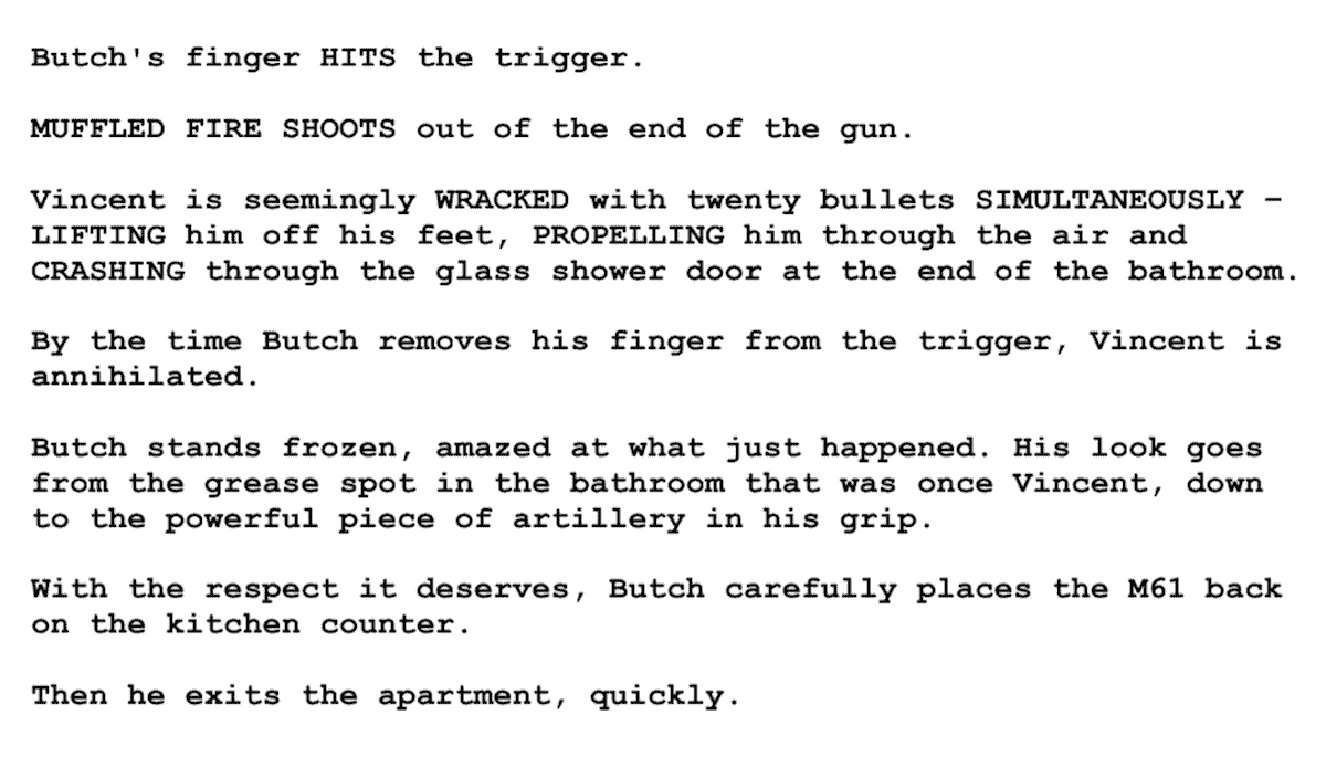 Screenplay Examples - Pulp Fiction Script - Screenplay Snippet 9 - Butch Apartment Fires Gun