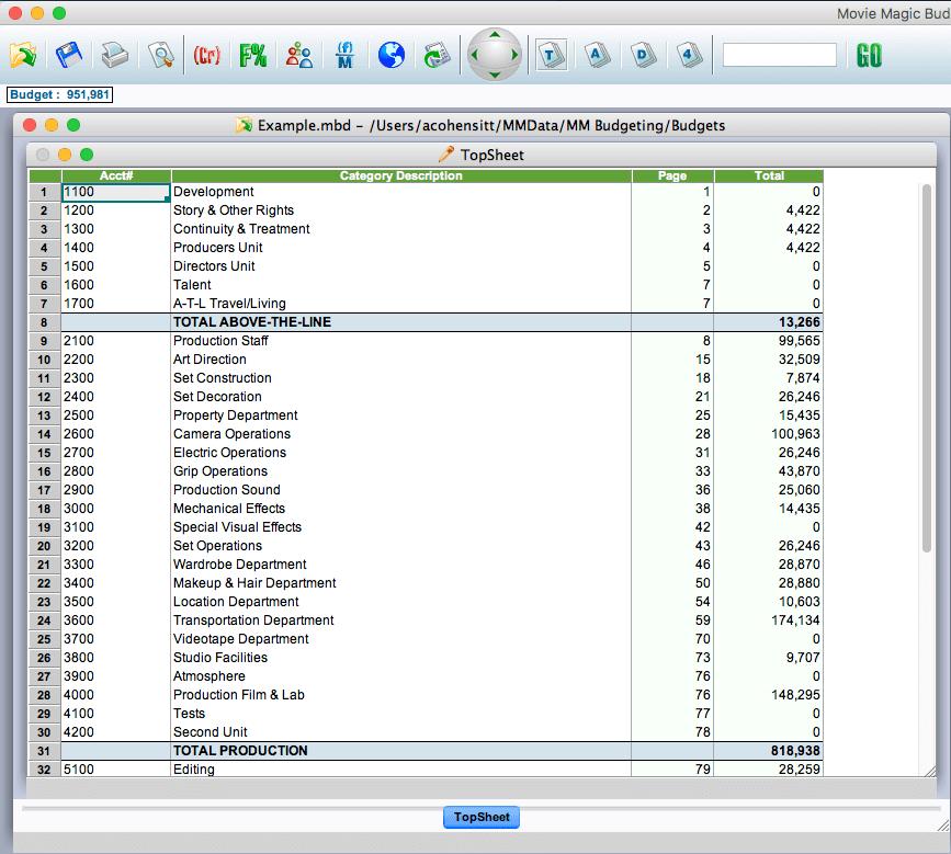 Movie Magic Budgeting Software Film Budget
