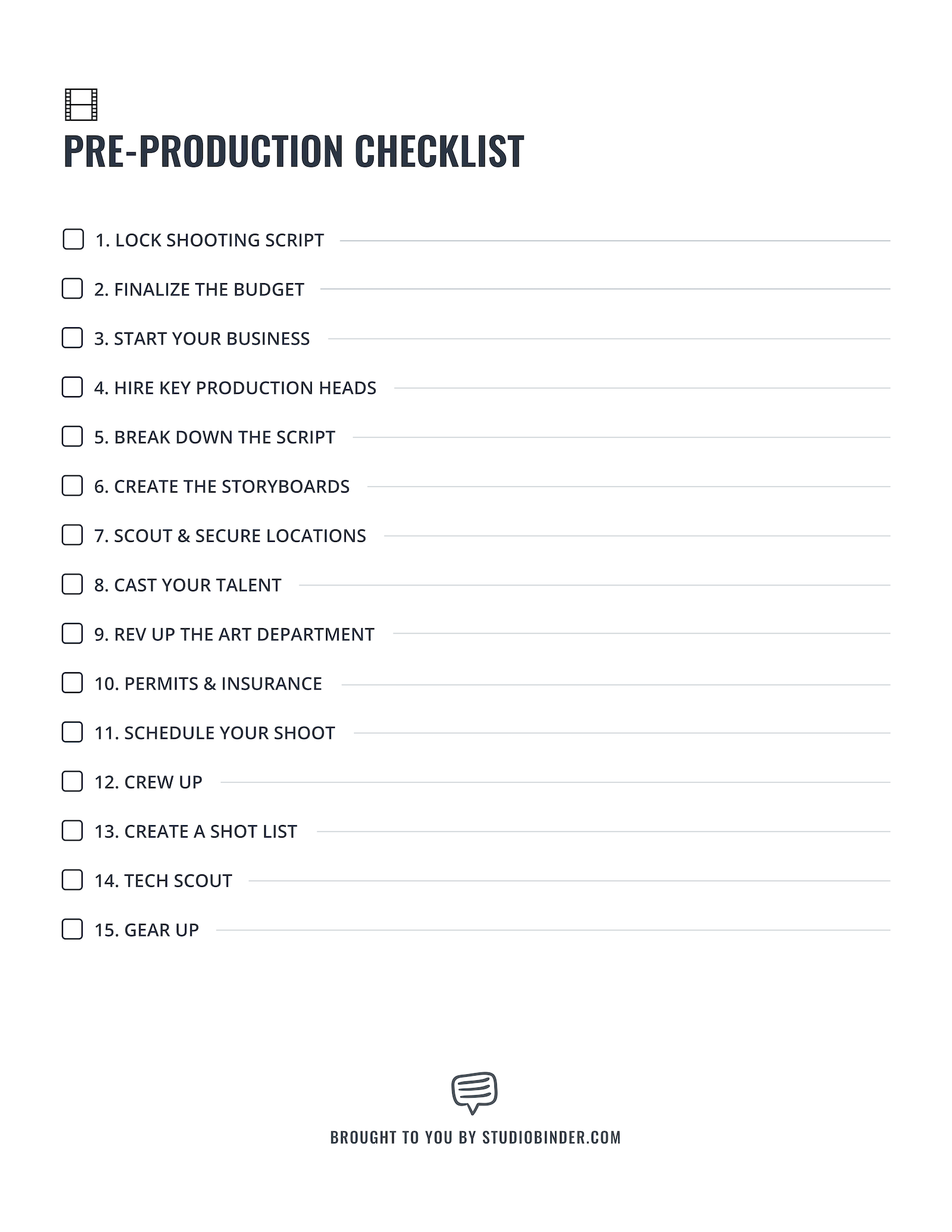 Pre Production Checklist