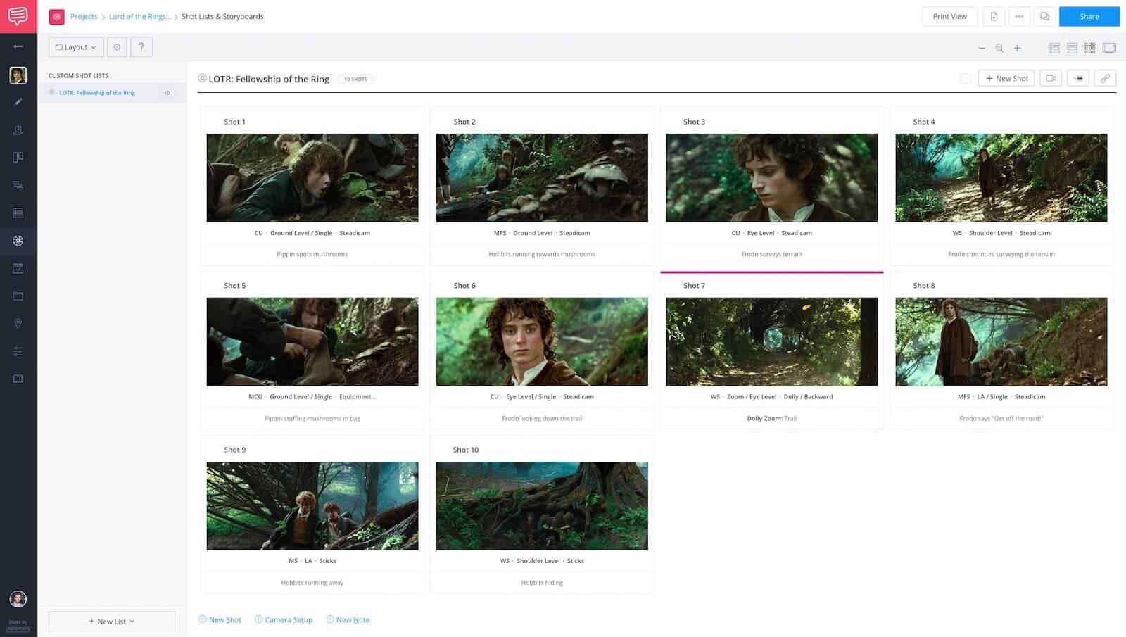 Dolly Zoom Vertigo - Lord of the Rings Storyboard - StudioBinder Shot List