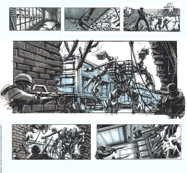 Film Storyboard Examples - Ed Natividad - Michael Bay - Transformers - StudioBinder