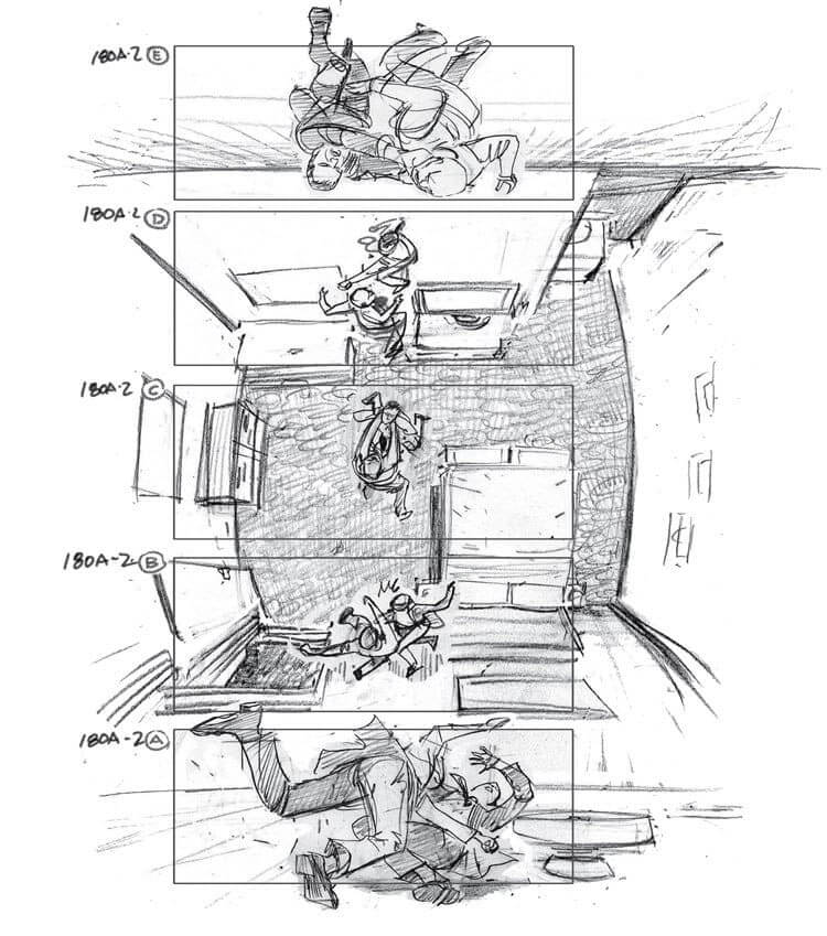 Film Storyboard Examples - Gabriel Hardman - Inception - Christopher Nolan - Storyboard Ideas - StudioBinder