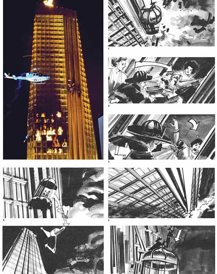 Film Storyboard Examples - Movie Storyboard Sample - Joseph Musso - John Guillermin - The Towering Inferno - StudioBinder