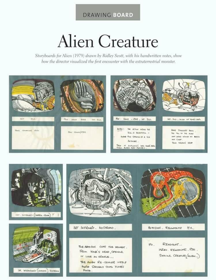 Film Storyboard Examples - Movie Storyboard Sample - Ridley Scott - Alien - StudioBinder