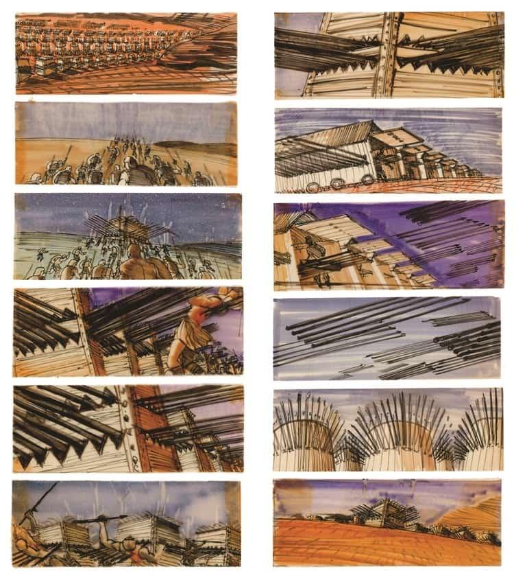 Film Storyboard Examples - Movie Storyboard Sample - Stanley Kubrick - Spartacus - StudioBinder