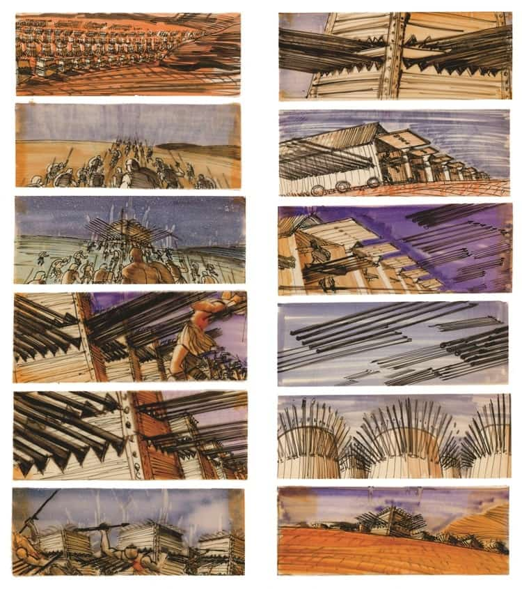 Film Storyboard Examples - Movie Storyboard Sample - Stanley Kubrick - Spartacus - StudioBinder