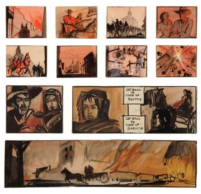 Movie Storyboard Examples for Film - William Cameron Menzies - Victor Fleming - Gone With the Wind - StudioBinder