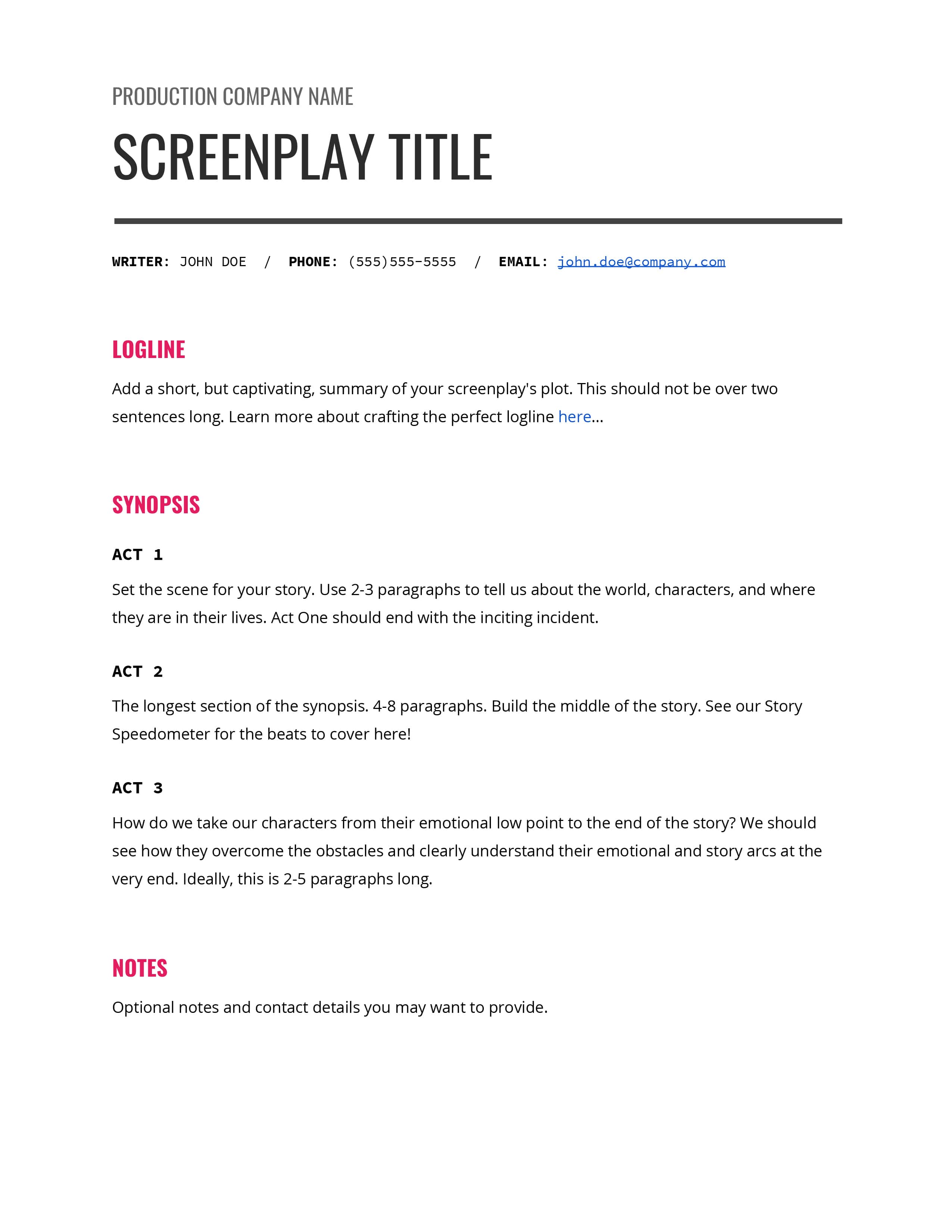 logline and synopsis examples