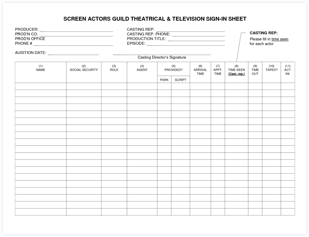 Sign In Sheet Template - Printable Sign In Sheet - Audition Form - Audition Form Template - Casting Auditions - StudioBinder