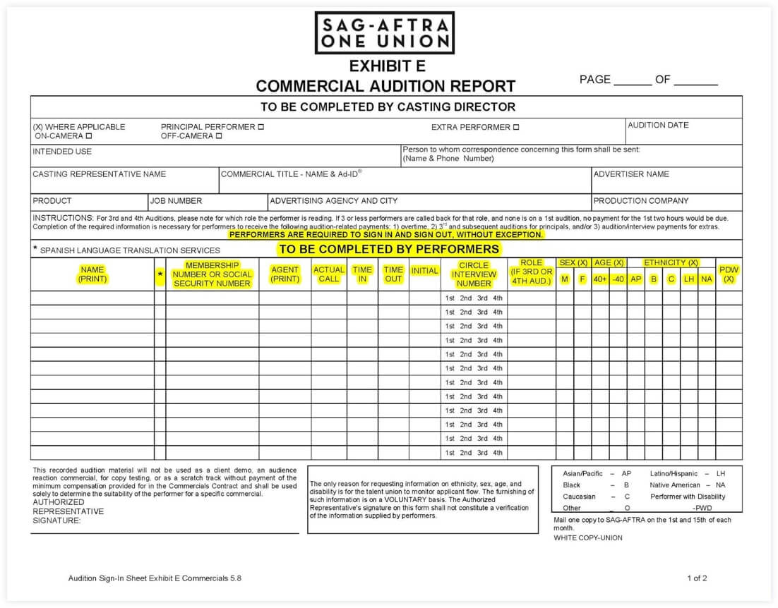 Sign In Sheet Template - Printable Sign In Sheet - Audition Form - Audition Form Template - StudioBinder