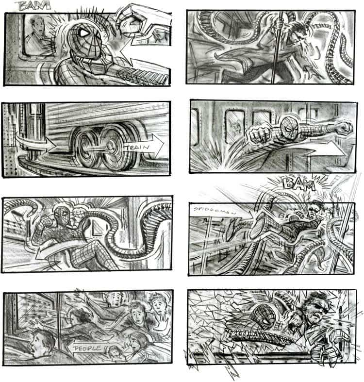 Storyboard Examples - Chris Buchinsky - Sam Raimi - Spider-Man 2 - StudioBinder