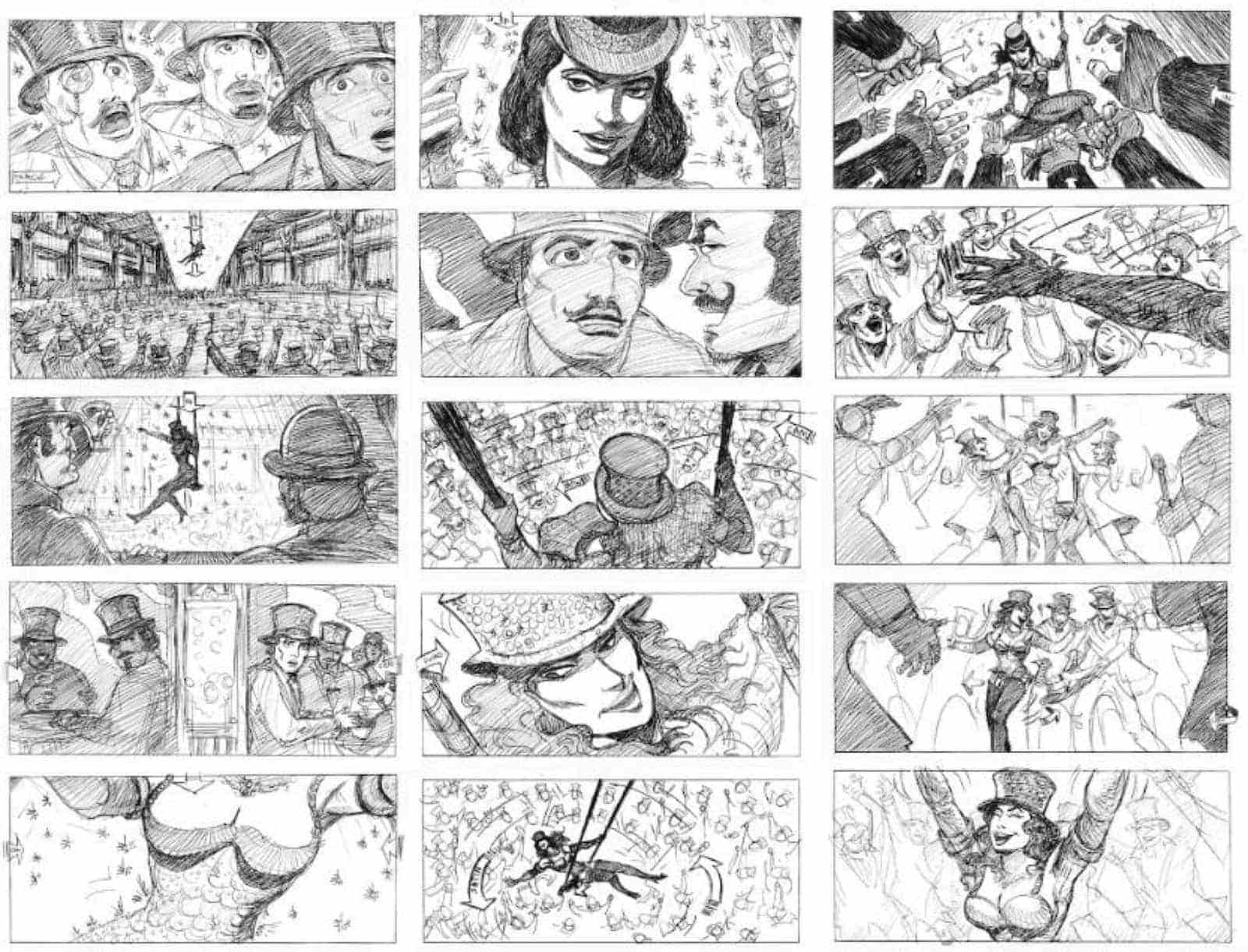 Storyboard Examples for Film - Storyboard Ideas - David Russell - Moulin Rouge Storyboard - StudioBinder