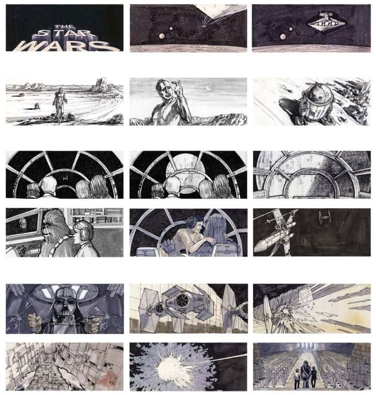 Storyboard Examples for Film - Storyboard Ideas - George Lucas - Star Wars A New Hope - StudioBinder