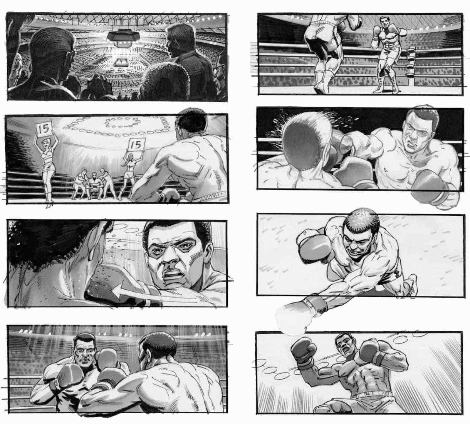 Storyboard Examples for Film - Storyboard Ideas - Tim Burgard - Michael Mann - Ali - StudioBinder