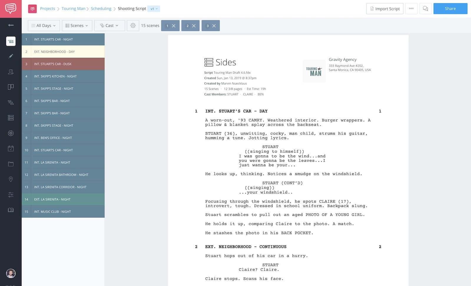 StudioBinder Film Scheduling Software - Create Script Sides Online
