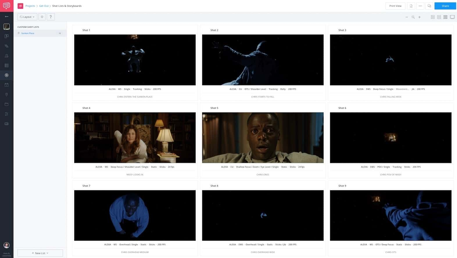 Video Frame Rates - Get Out - StudioBinder Storyboard