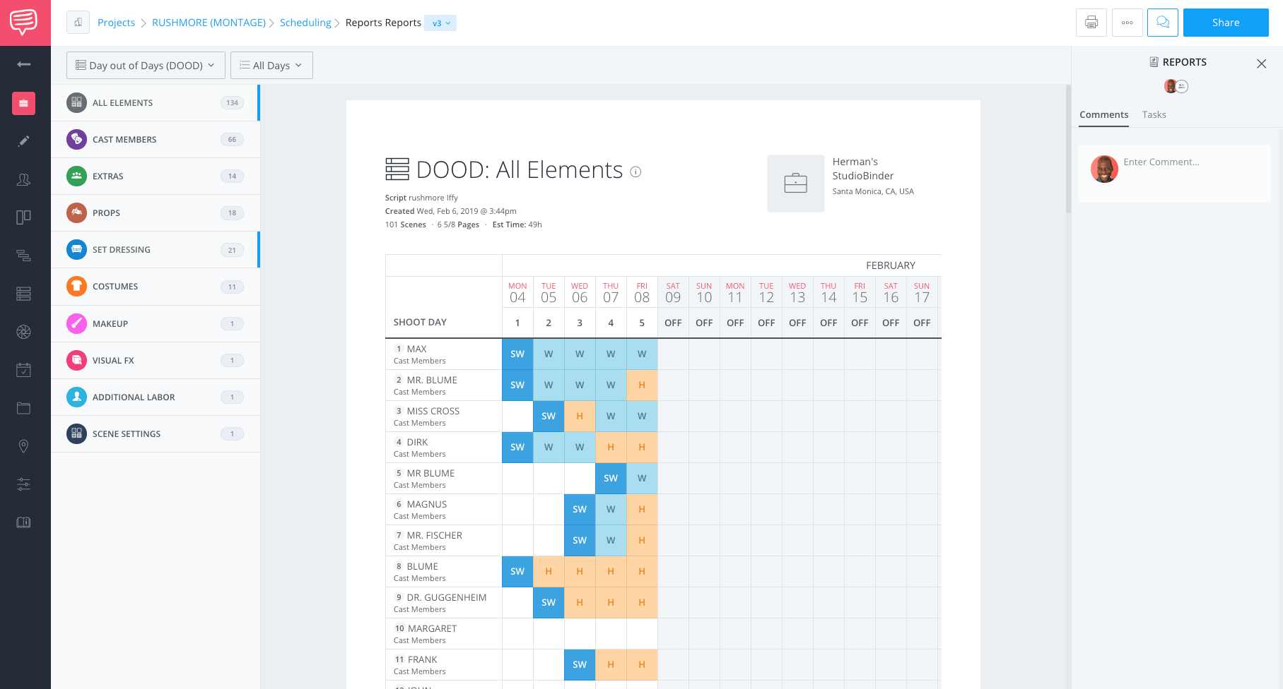 Shooting Schedule - What is a montage - dood report - Studiobinder