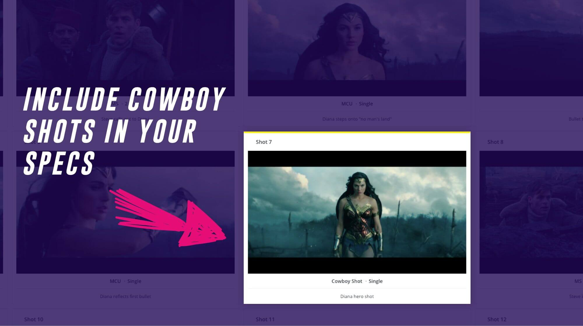 Different Types of Shots Cowboy Shot Wonder Woman Shot List StudioBinder