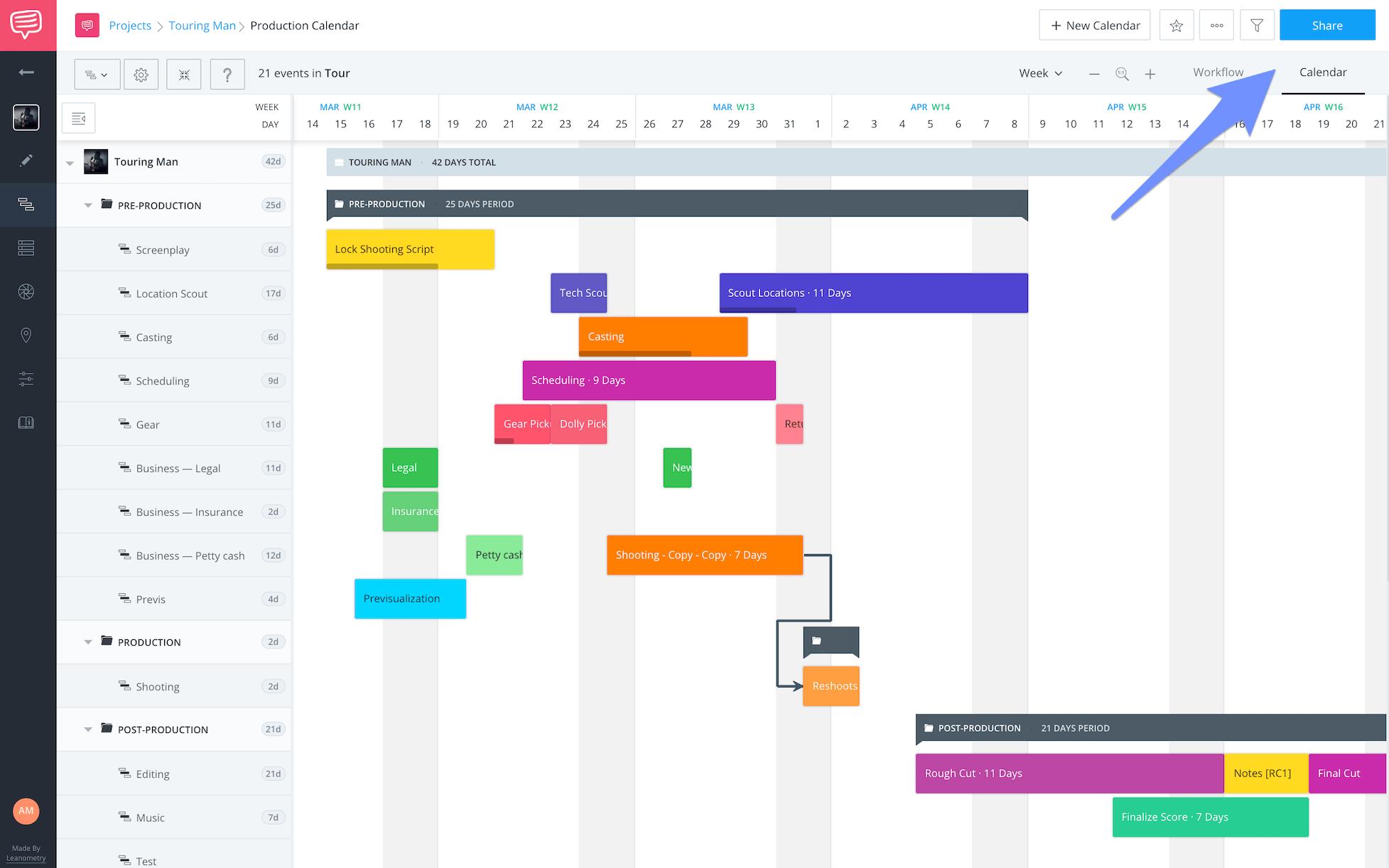 Digital Communications Production Calendar