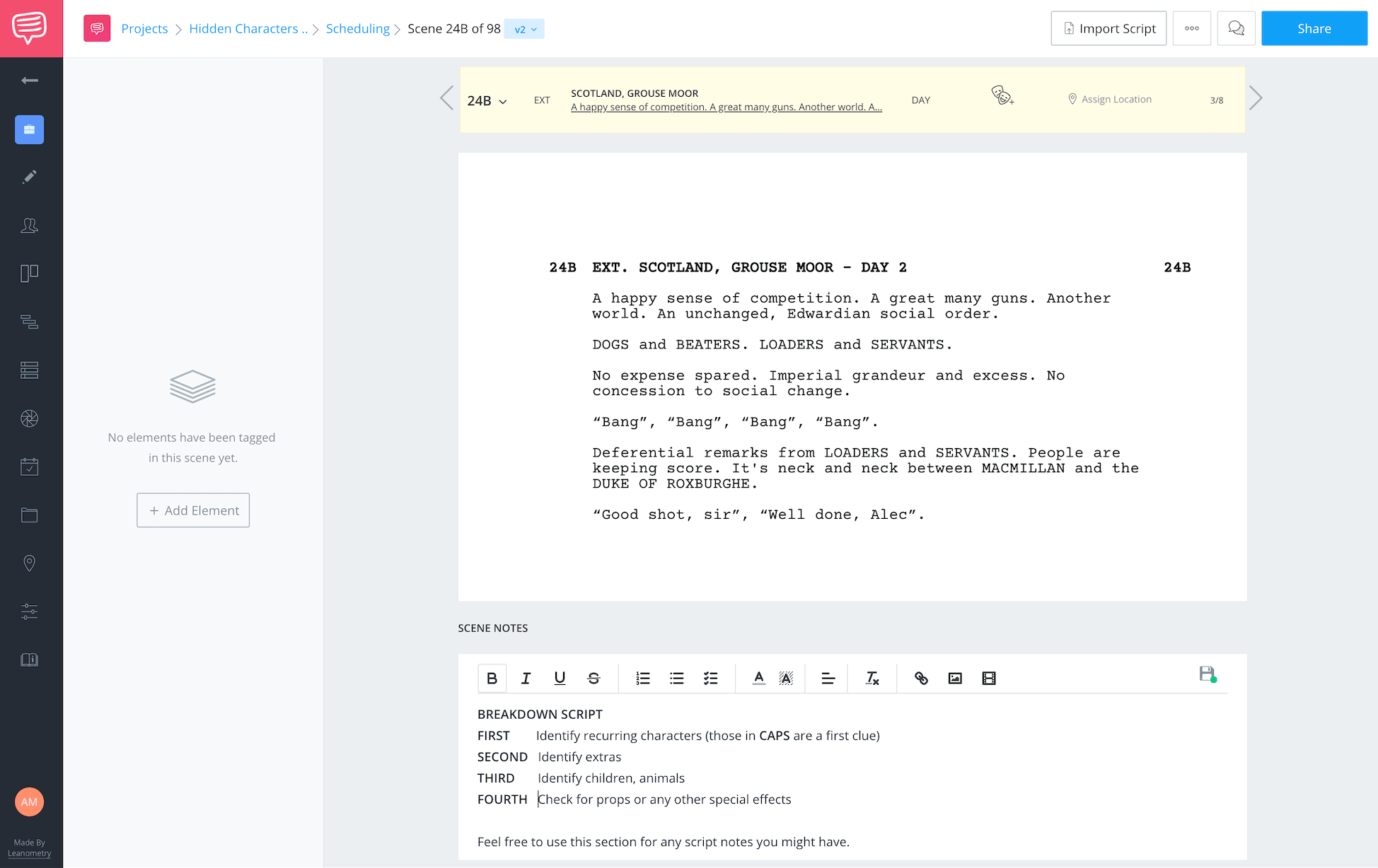 Hidden Characters Script Breakdown Initial
