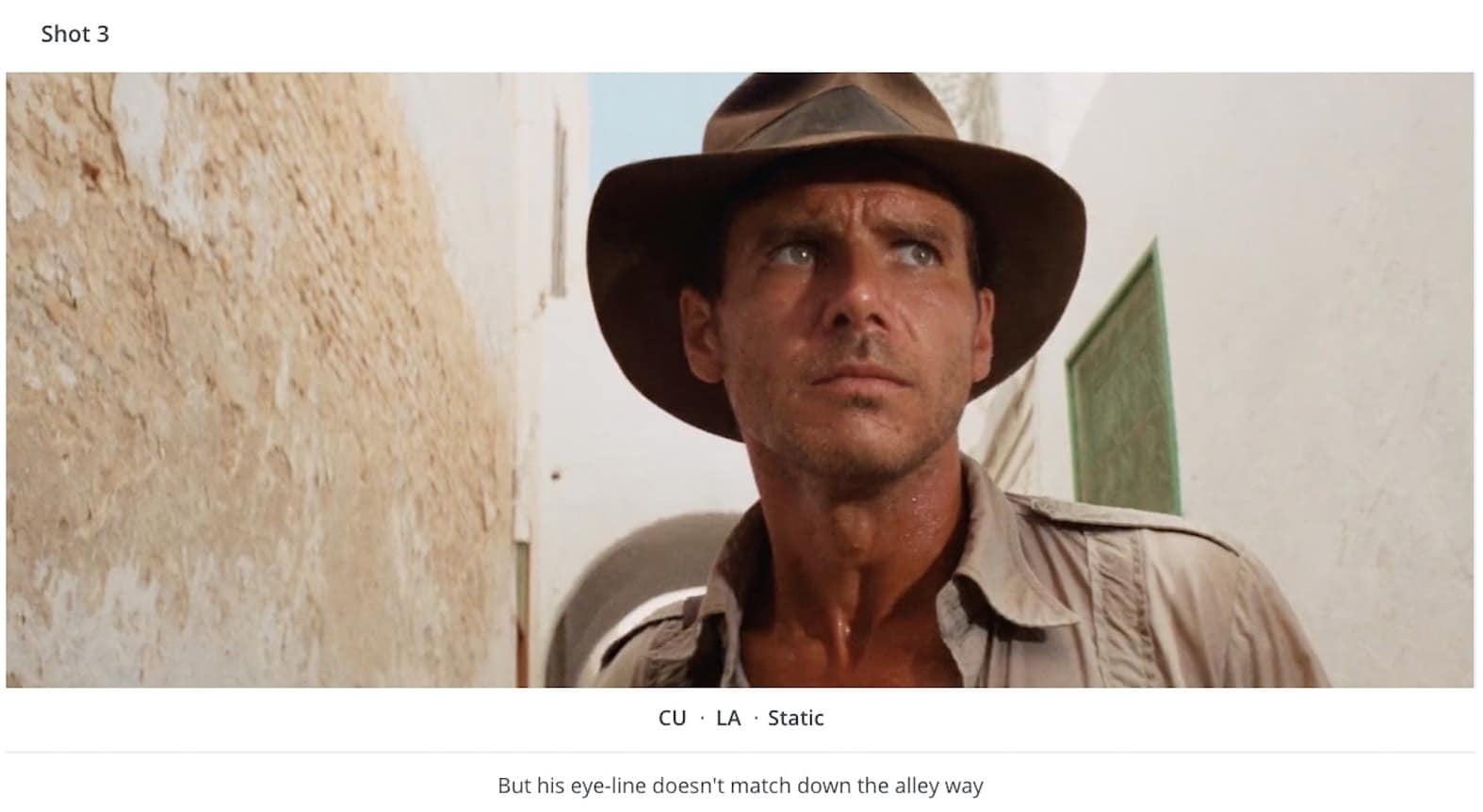 Kuleshov Effect Example Indiana Jones Eyes Shot