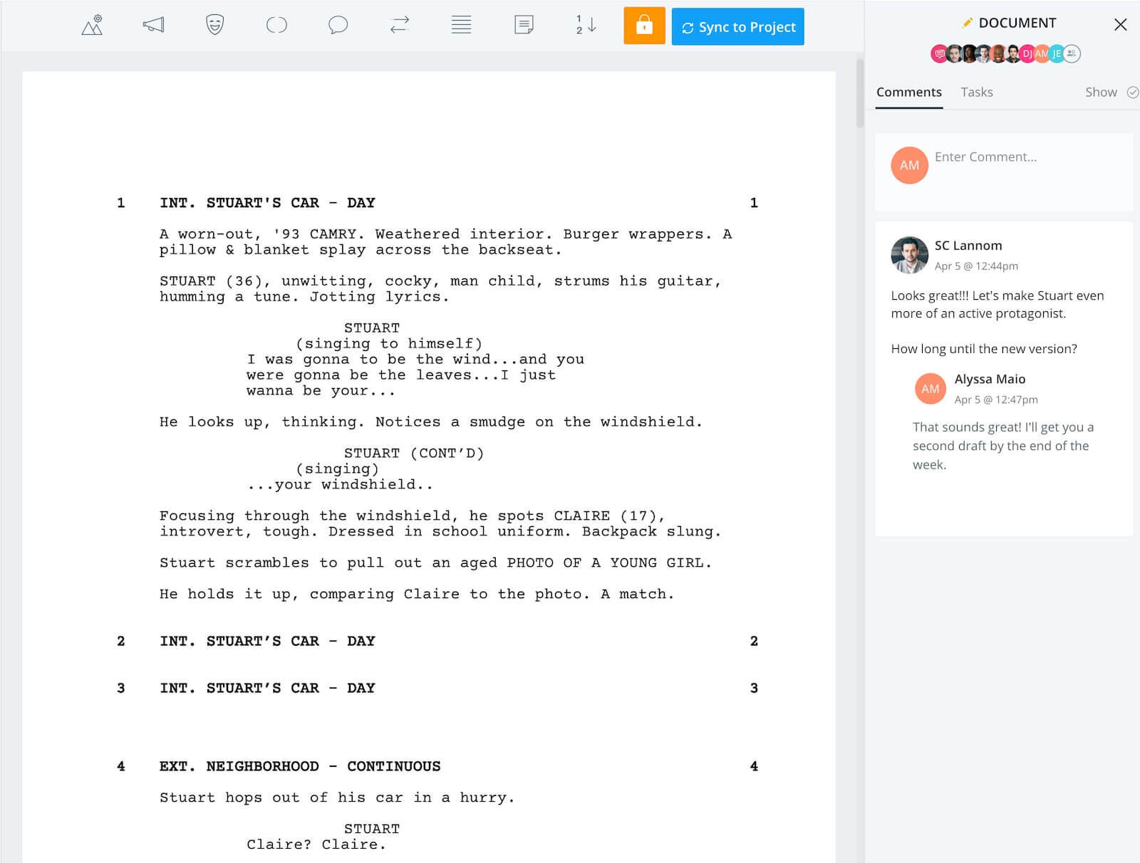 Screenwriting is Here Touring Man Screenwriting Comments