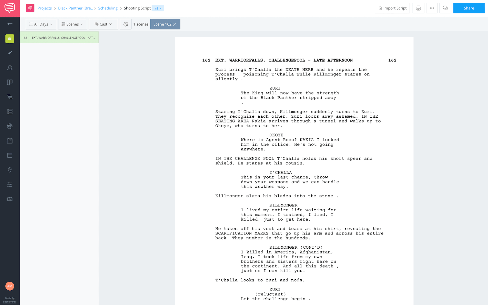 Black Panther Fight Scene Shooting Script