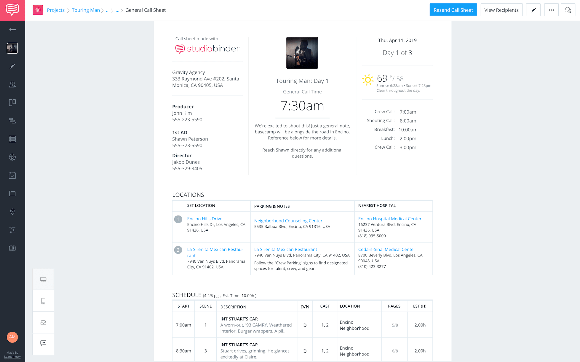 Larry Jordan Post Production Workflow Call Sheet