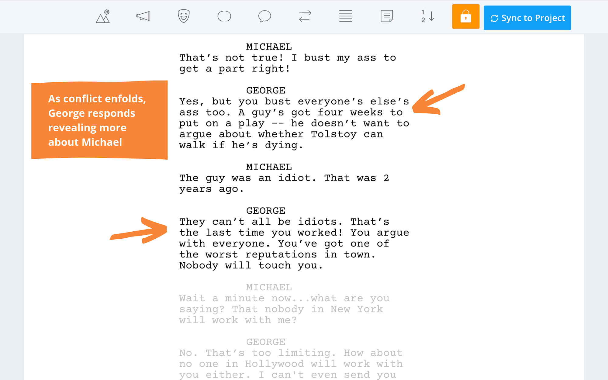 Writing Exposition Tootsie Close Up Script