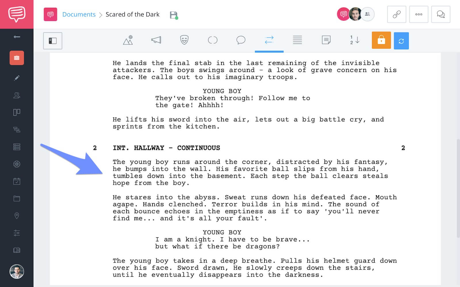 screenwriting-action-lines