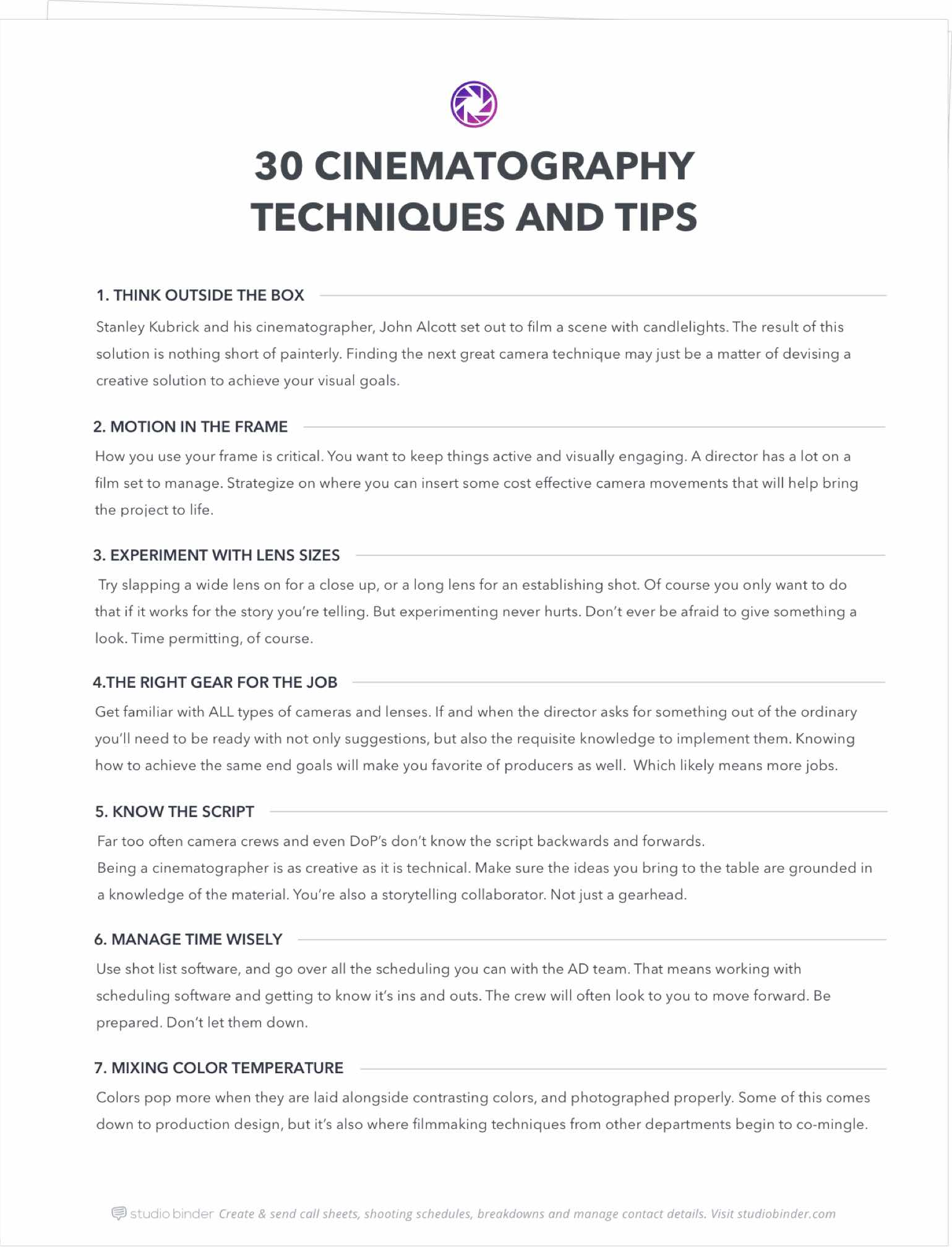 30 Cinematography Techniques & Tips You Didn't Learn in Film