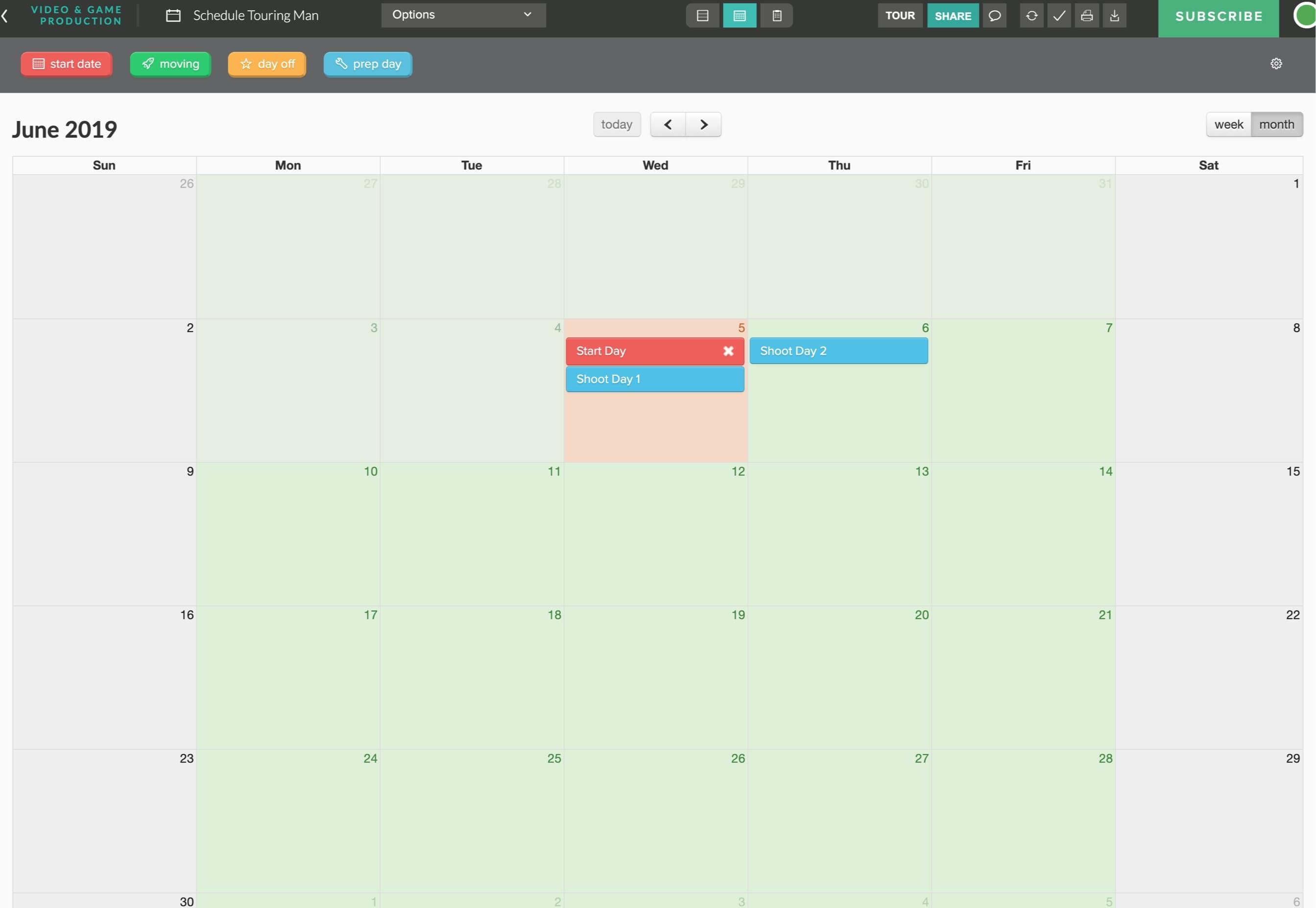 Best Alternative to Celtx - Production Calendar