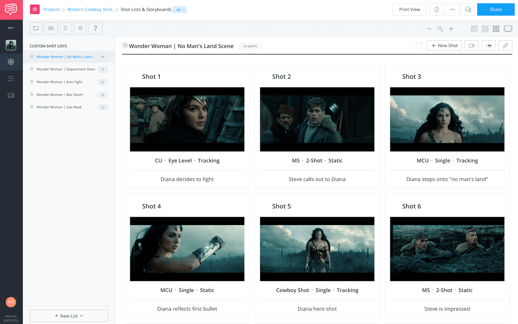 Best Moodboard Apps - Wonder Woman Storyboard - StudioBinder Storyboard Feature
