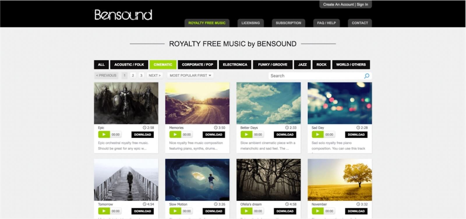 Best Stock Music Sites -  Bensound