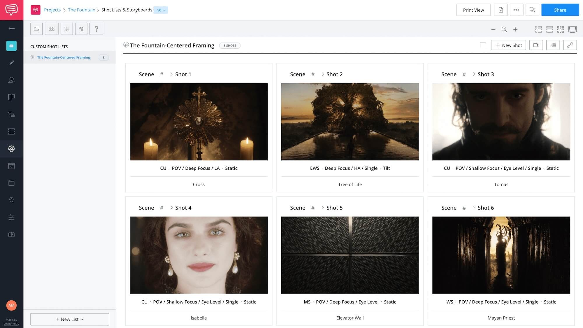 Darren Aronofsky Movies - The Fountain - StudioBinder Online Shot List Software