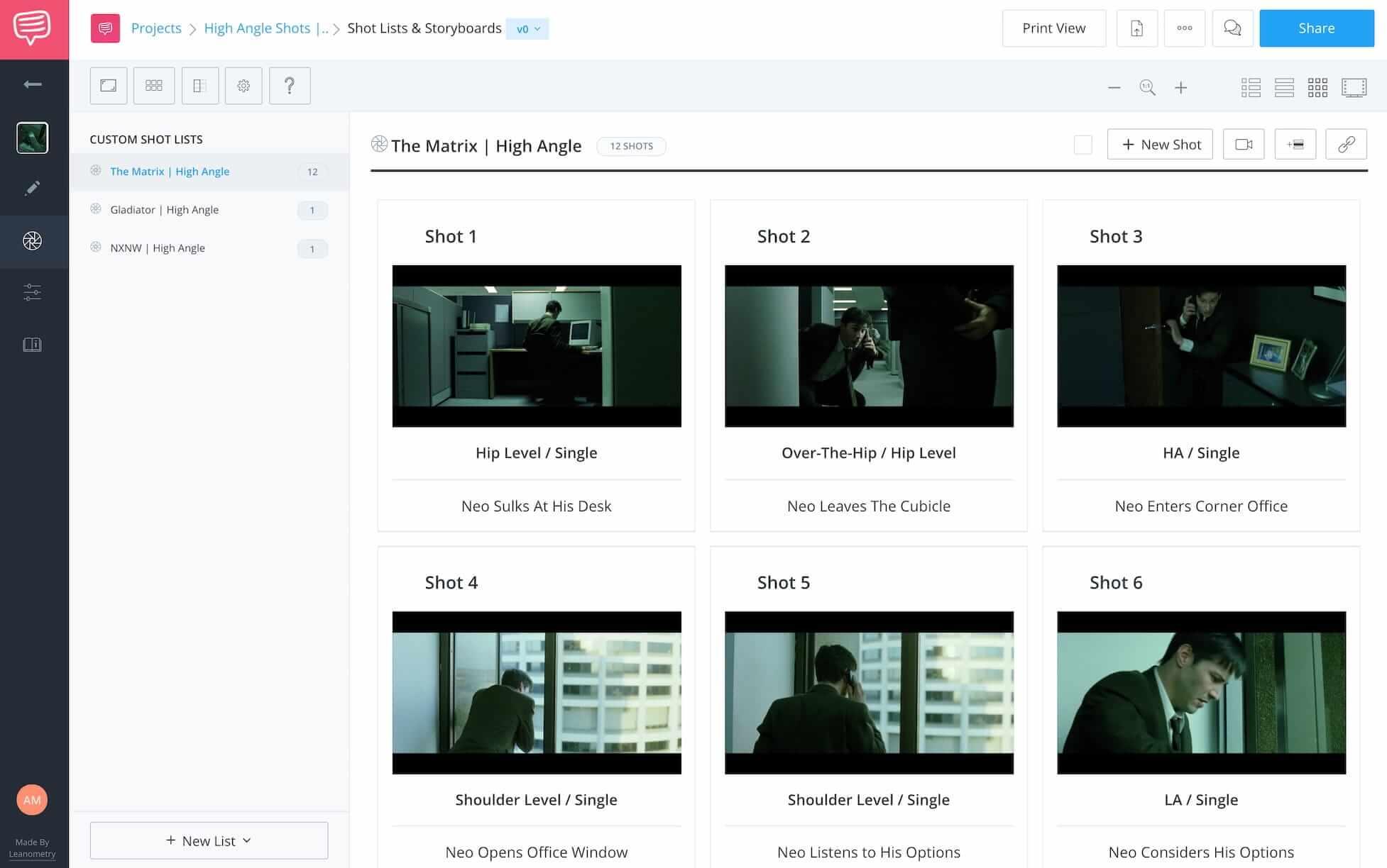 High Angle Shot - The Matrix - StudioBinder Online Shot List Software
