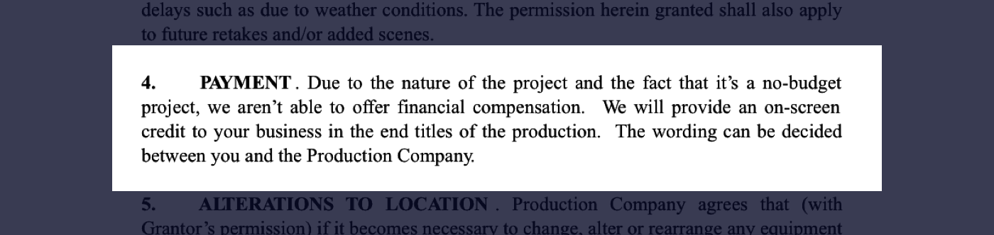 How to Secure Film Locations - Film Location Agreement - Compensation