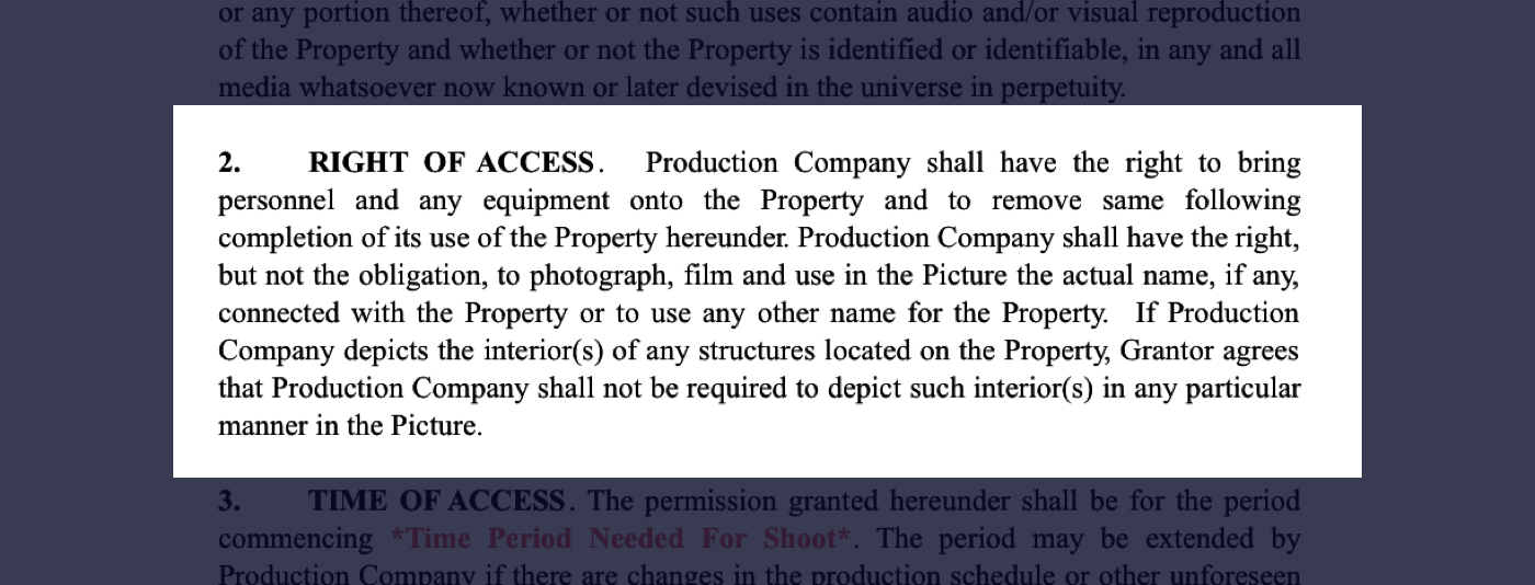 How to Secure Film Locations - Film Location Agreement - Right of Access