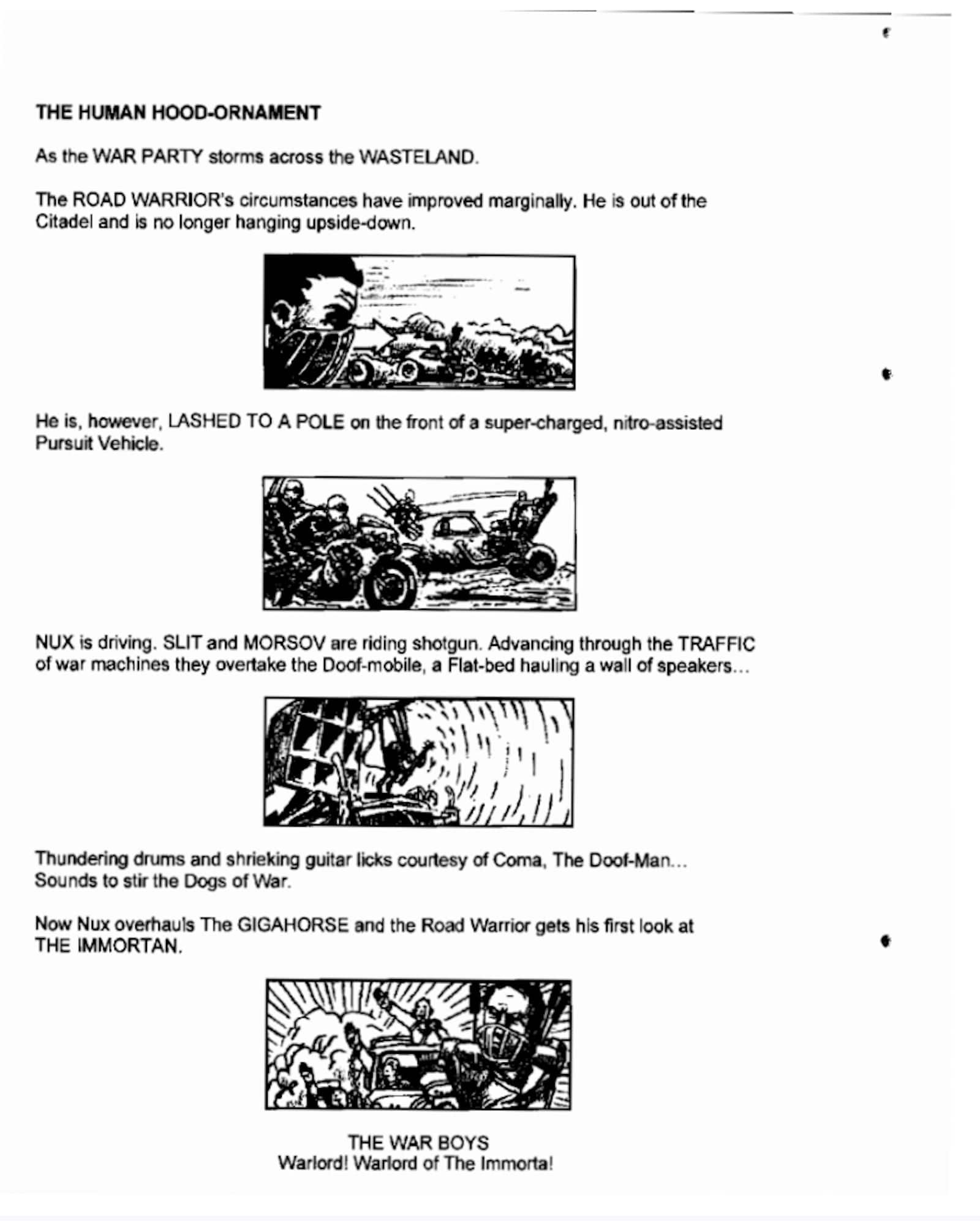 How to Write a Car Chase Scene - Mad Max Storyboard Drawing