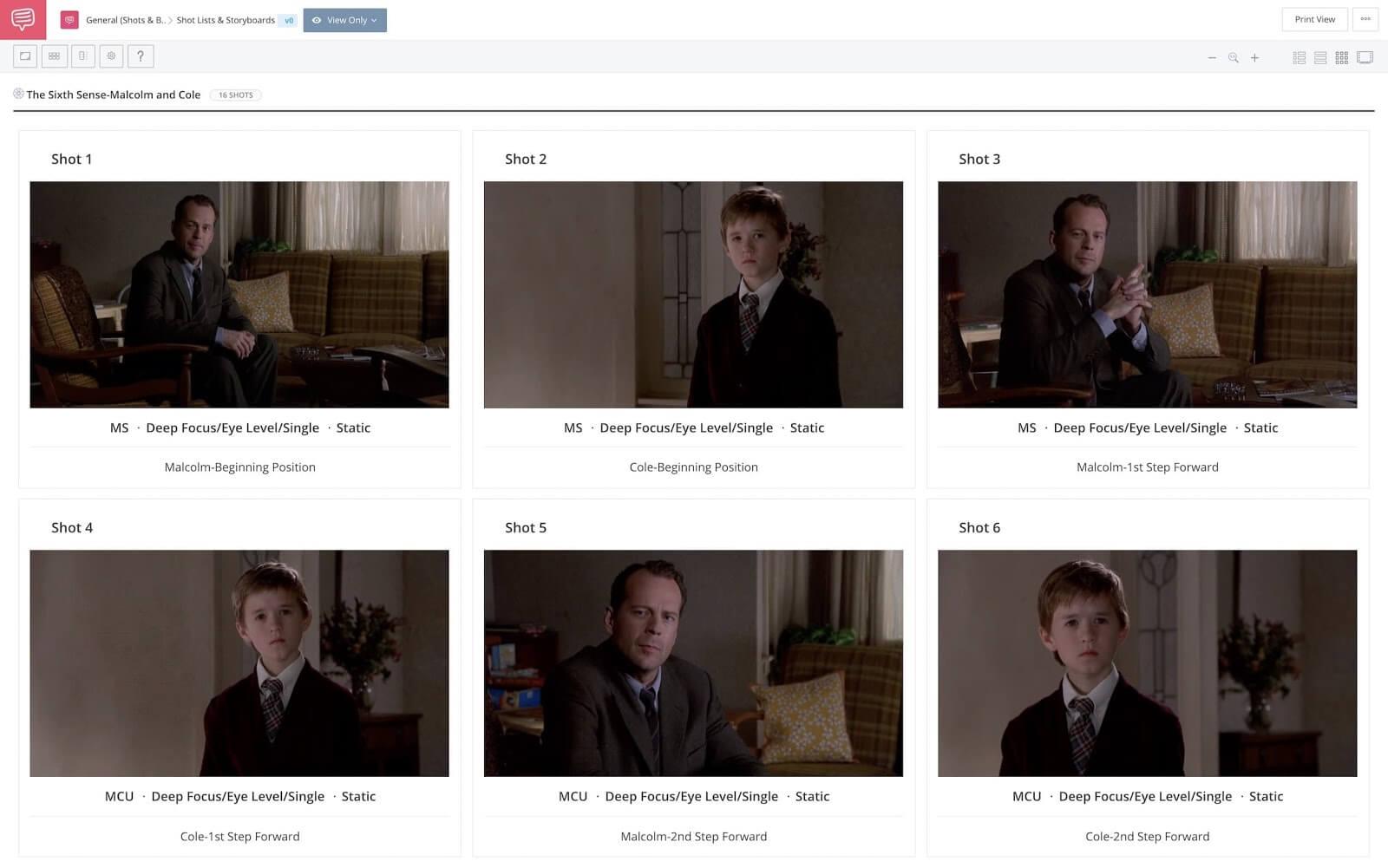 M Night Shyamalan Movies - Directing Style - The Sixth Sense - StudioBinder Online Shot List Software