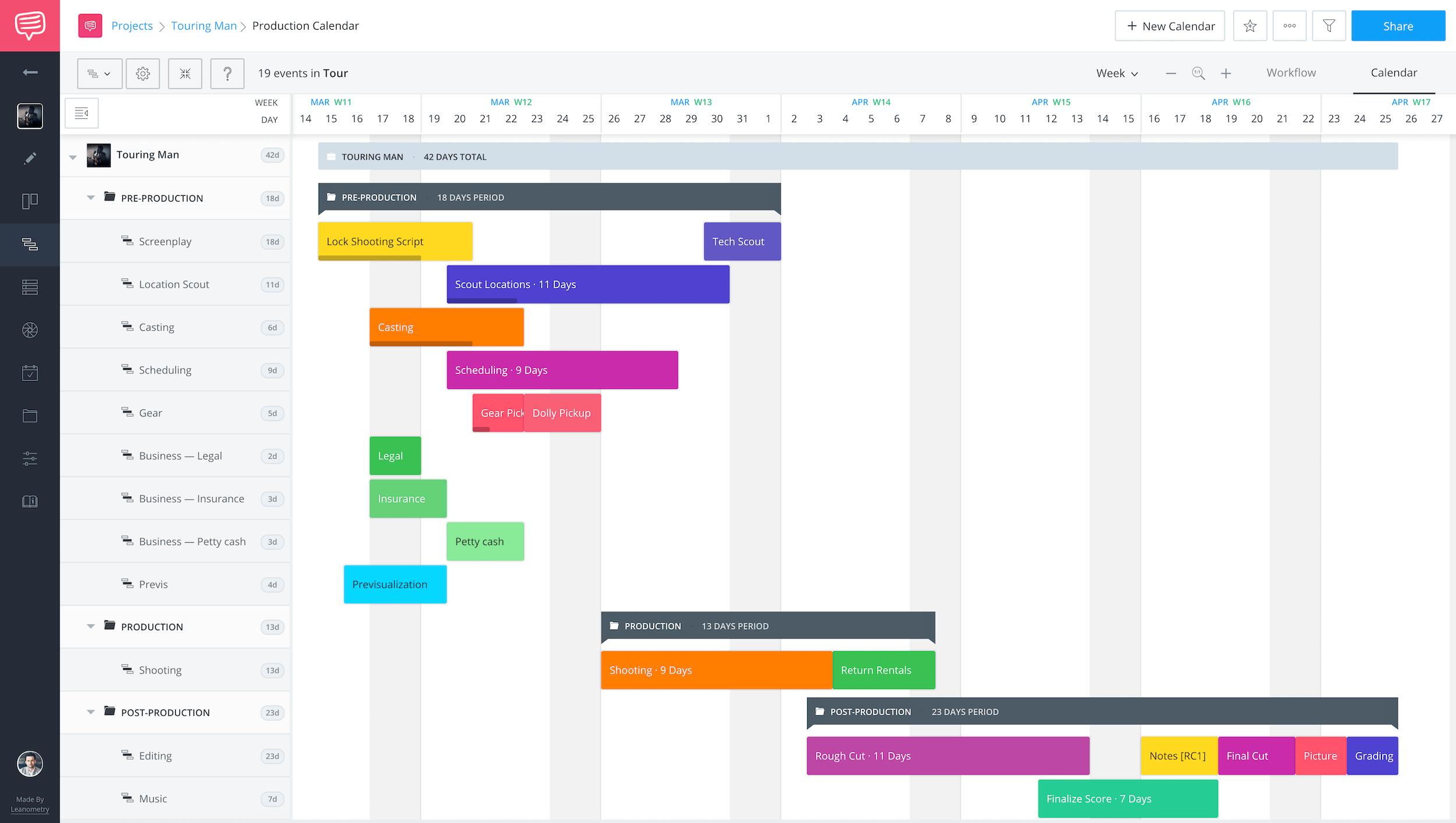 Production Calendar - Project Management - StudioBinder