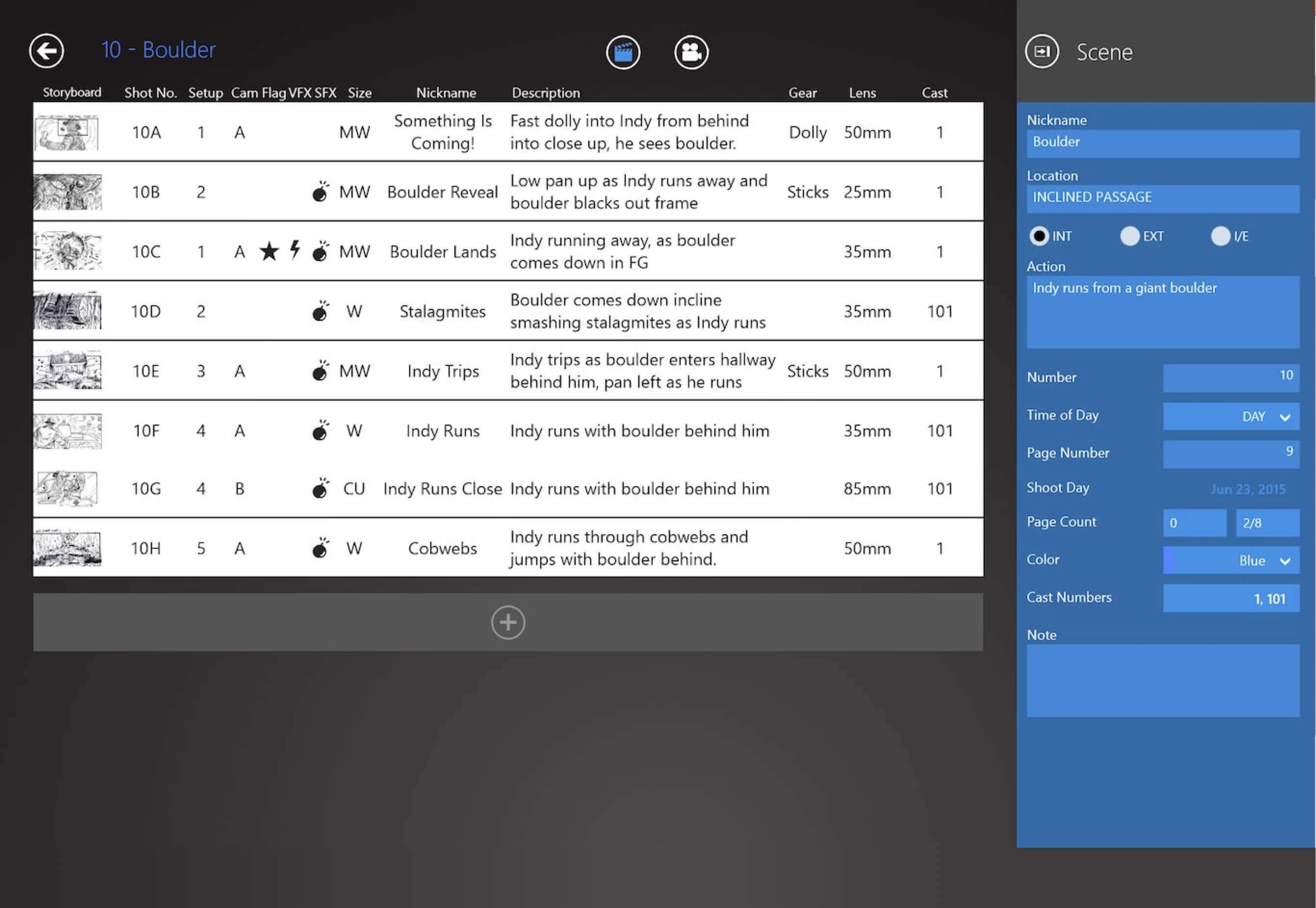 Shot Lister Pro versus StudioBinder - Free Shot List Software Dashboard